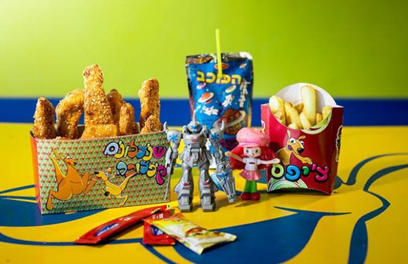 שניצלונים וצ'יפס בקופסא עם קטשופ וחרדל נוסף לטרופית וצעצוע ילדים - בובות