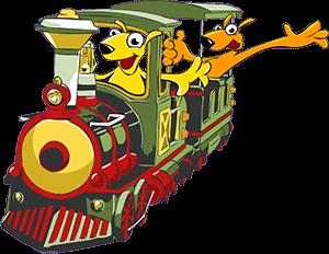 איור: קנגורו קטן נוהג ברכבת, מאחוריו קנגורו גדול שמוציא את היד מהחלון