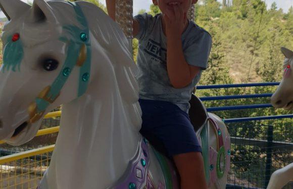 ילד יושב על סוס בקרוסלת סוסים